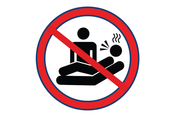 Strikethrough of a graphic of a person standing next to another person lying down coughing with a fever.
