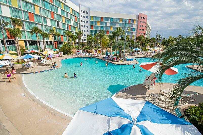 Guests At Cabana Bay Beach Resort Universal Orlando Swimming And Relaxing By The Lazy River