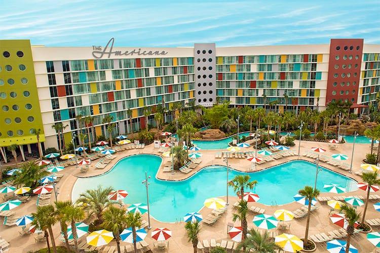 An aerial view of the zero entry pool at Cabana Bay Beach Resort at Universal Orlando.