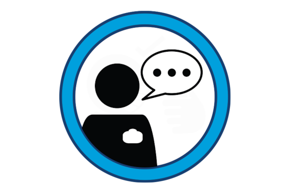 Pictogram of a comment bubble above a person wearing an identification badge.