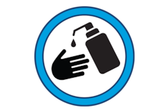 Pictogram of a pump bottle of sanitizer applying sanitizer to a hand.