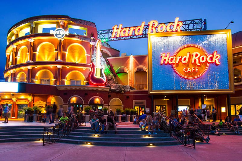 The Exterior Of Hard Rock Cafe With Its Illuminated Sign At Universal Citywalk