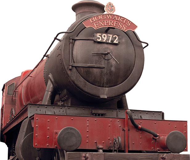 The front view of the Hogwarts Express train inspired by the Harry Potter books and films.