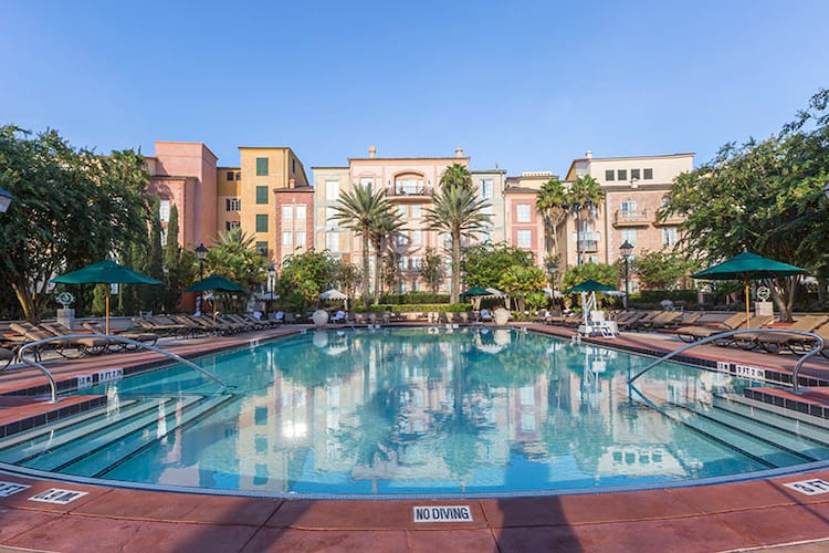The magnificent Villa Pool at Loews Portofino Bay Hotel at Universal Orlando, marked by its striking symmetry and Italian charm.