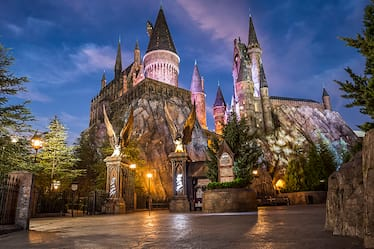 The majestic Hogwarts castle, where guests at Universal's Islands of Adventure in Orlando experience the exciting ride Harry Potter and the Forbidden Journey.