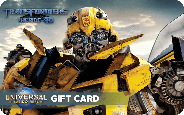 A Universal Orlando Resort Gift Card Featuring An Image Of Blebee The Transformer. Universal Orlando Gift Card Universal Orlando Resort