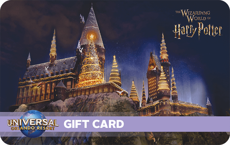 A Universal Orlando Resort gift card featuring an image of the Hogwarts castle lit up with