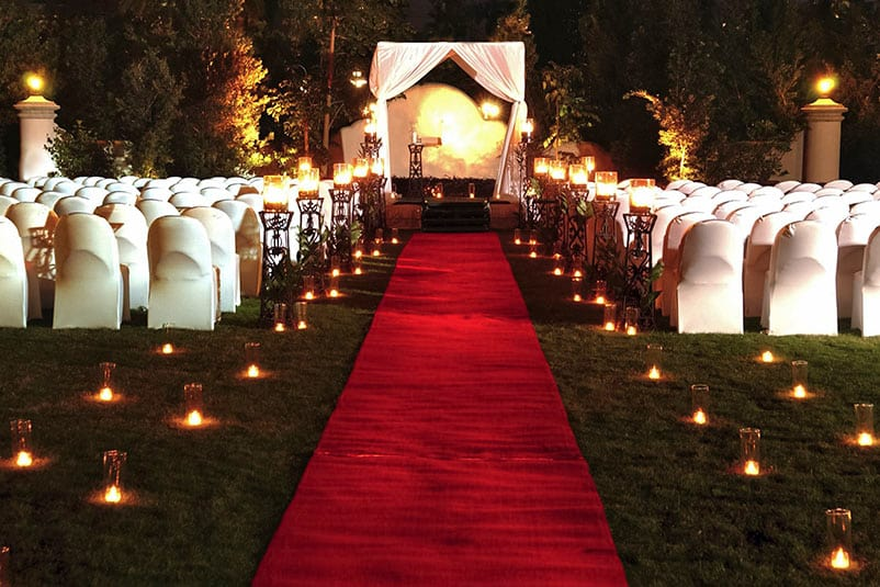 Unique hotel wedding venues at universal orlando resort an evening wedding ceremony set up at universal orlandos hard rock hotel complete with a junglespirit Gallery