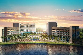 An artistic rendering of Universal's Endless Summer Resort - Surfside Inn and Suites shows a large hotel complex alongside the water with some sailboats going by.