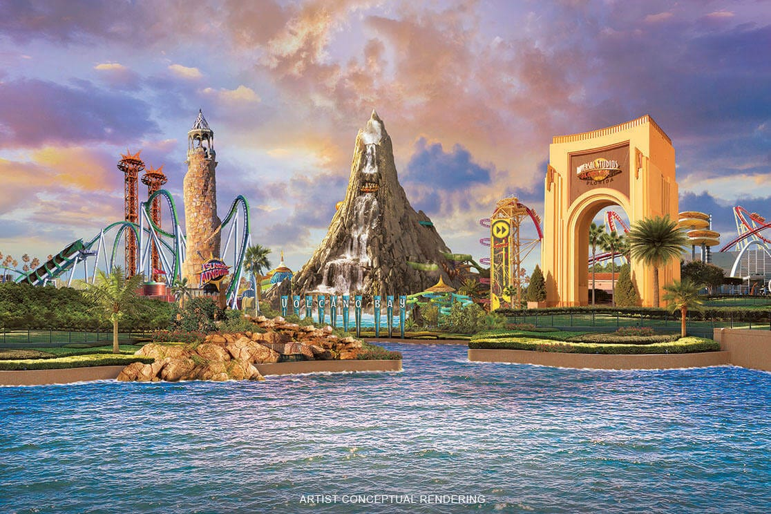 A Composite Image Depicts Universals Islands Of Adventure Volcano Bay And Universal Studios Florida