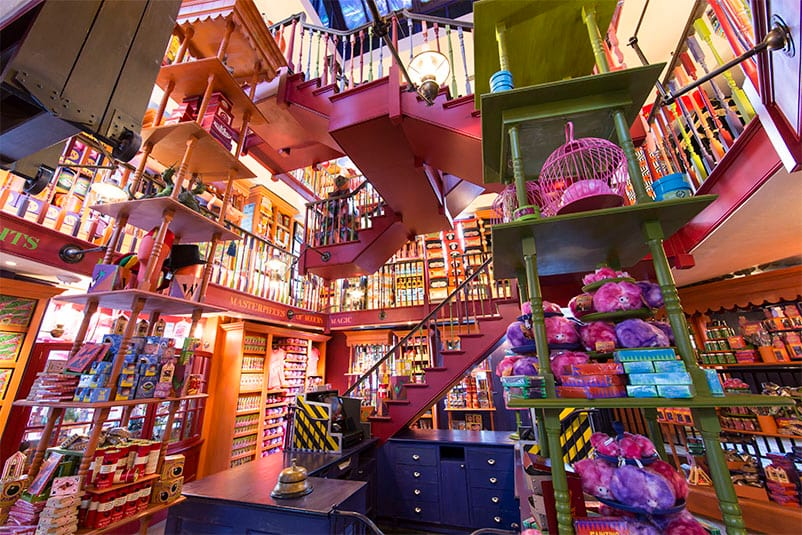 The wildly colourful interior of Weasleys' Wizard Wheezes, a Harry Potter themed novelty gift shop in Universal Studios Orlando.