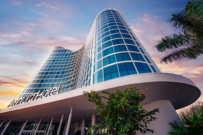 An artistic rendering of Universal's Aventura Hotel, a brand new contemporary opening in Orlando in 2018.