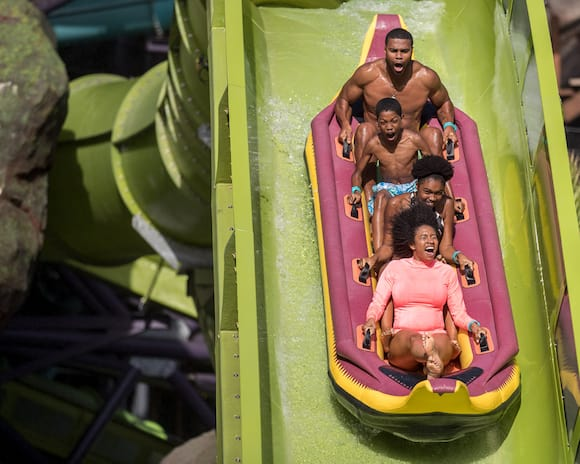(Krakatau™ Aqua Coaster): Volcano Bay's marquee ride puts you in a four-person canoe that soars upward as fast as it plunges.
