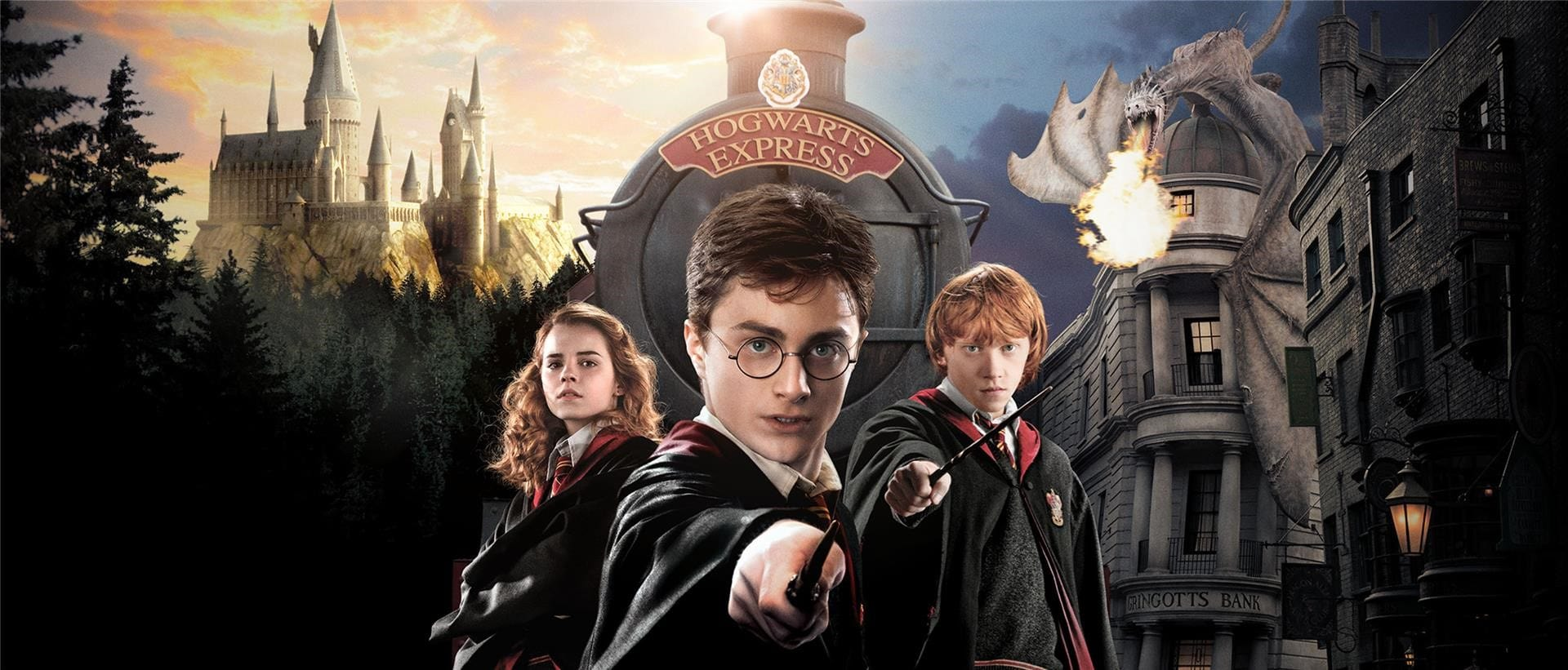 Harry potter - Harry Potter Ron Weasley And Hermione Granger Pose In Front Of The Hogwarts Express