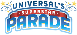 The logo for Universal's Superstar Parade, a colorful spectacle featuring some of Universal Orlando's most popular theme park characters.