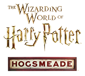The logo for the Hogsmeade area of the Wizarding World of Harry Potter, an interactive land in Universal's Islands of Adventure theme park in Orlando.